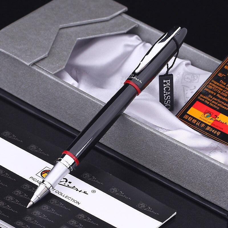 Гладкая черно-красная Шариковая ручка Pimio 907 с серебряным зажимом, высококачественные металлические шариковые ручки с оригинальным чехлом, ...