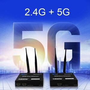 Image 2 - 5GHz Senza Fili di Trasmissione HDMI Extender Trasmettitore Ricevitore Video Converter 100M 200M Wireless Wifi HDMI Sender DVD PC per TV