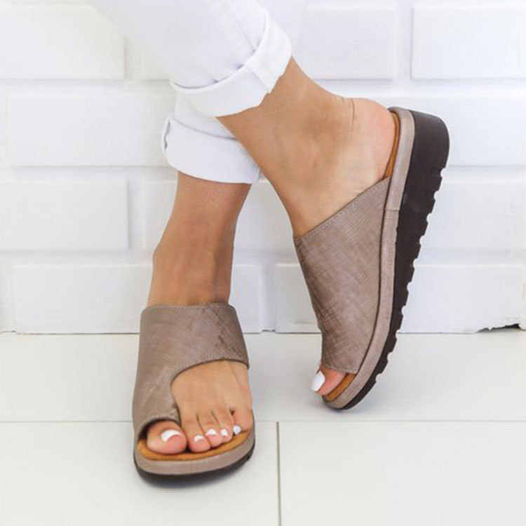 Phụ Nữ Da PU Giày Thoải Mái Nền Tảng Đế Phẳng Nữ Da Ngẫu Ngón Chân Cái Chân Hiệu Chỉnh Sandal Mua Sắm Đế Phẳng Sandal 987