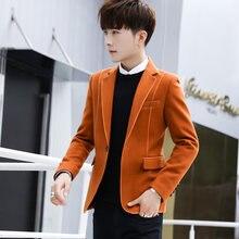 Модные мужские шерстяные приталенные блейзеры на одной пуговице