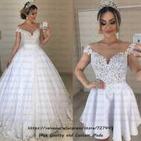 Vestido de Noiva 2 em 1 Cheap Ball Gown 2 in 1 Wedding Dress 2019 Sexy Lace Beaded Short Sleeves Bride Dresses Vestidos De Novia