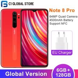 Versão global xiaomi redmi nota 8 pro 6gb 128gb 4500mah nfc telefone móvel 6.53