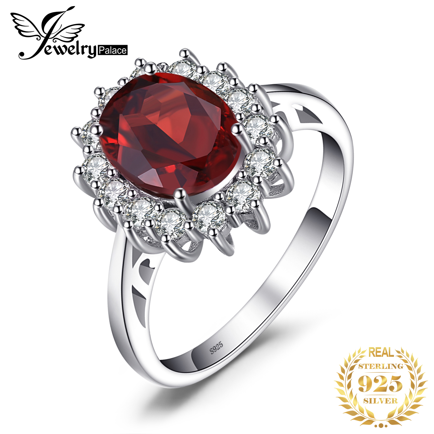 JewPalace Princess Diana Genuine Garnet Ring 925 Sterling Silver Rings For Women Engagement Ring Silver 925 Gemstones Jewelry