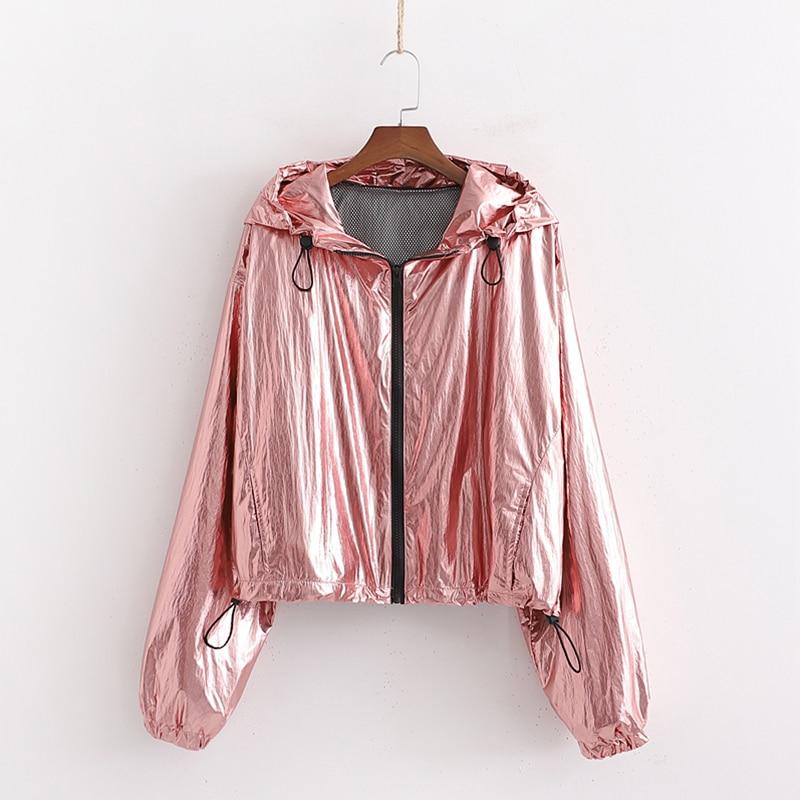 2019 New Women Spring Autumn   Jacket   Hooded Pink Shining Fabric Female Outwear   Basic     Jacket