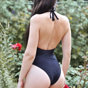 Image 5 - Riseado Sexy Mesh Swimwear Women Lace up One Piece Swimsuit 2020 New High Cut Swimsuits Halter Bodysuits V neck Beach Wear