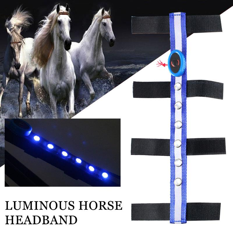 Equestrian Reins Horse Reins LED Horseman Tournament Blue Polyester Horse Head Straps Outdoor Sports
