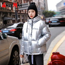 2019 Glossy Winter Down Cotton Padded Jacket For Women warm Thick Bright Hooded Short Shiny oversized coats silver Cotton Parkas(China)