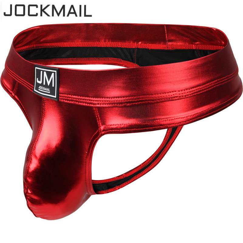 JOCKMAIL Men Briefs Bikini Sexy U Convex Gay Underwear PU Leather Men Underwear Calzoncillos Hombre Slip Penis Pouch Thong Tanga