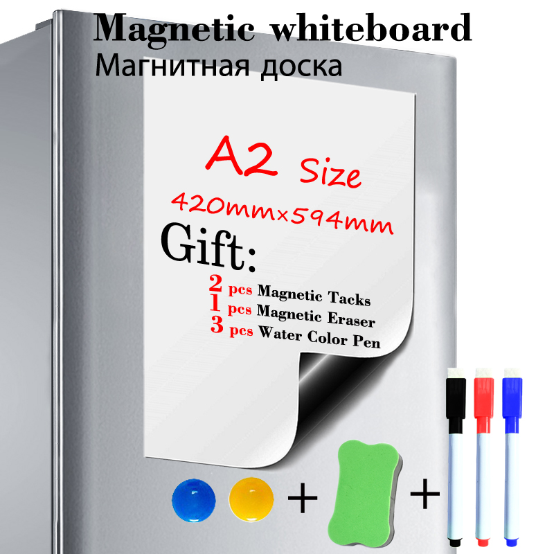 A2 Size Dry Erase White Board Fridge Sticker Magnetic Whiteboard  Kitchen Office Message Board Gift 3 Pen 1 Eraser 2 Tacks
