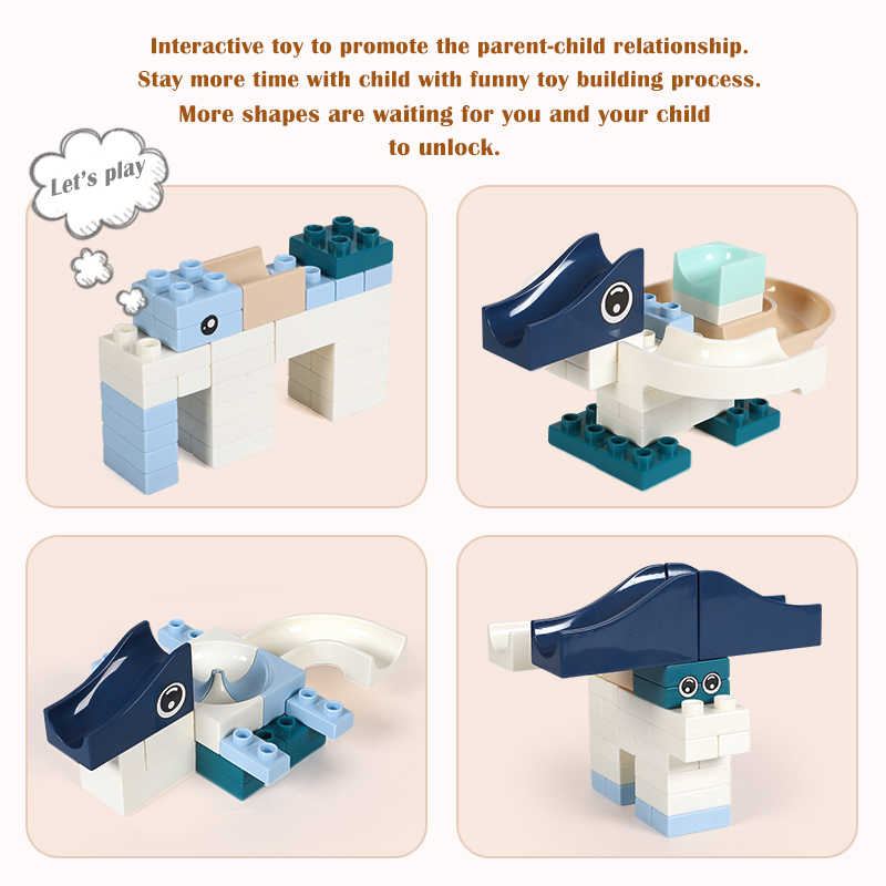 Neue 80 Pcs Marmor Rennen Run Gebäude Block Kompatibel Großen Marken Duploed Konstruktor Steine Pädagogisches Spielzeug für Kinder Kinder