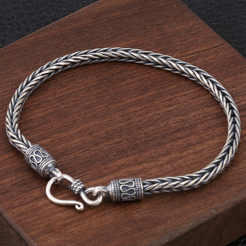 925 Sterling Silver Men's Woven Bracelet Wrist Bracelets Thai Silver Man Braided Punk Vintage Jewelry Gift