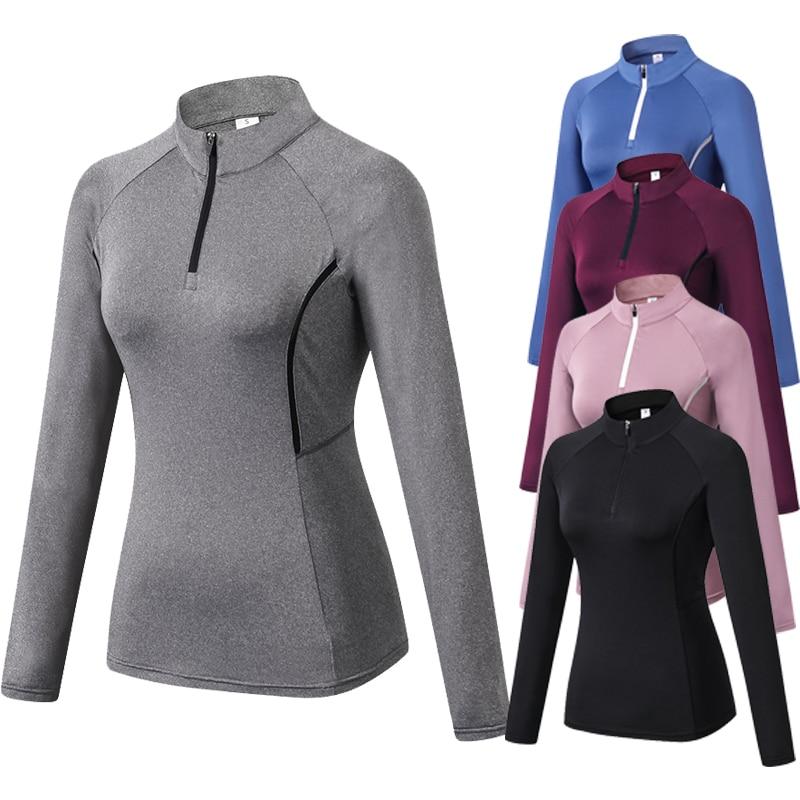 Women's Running Jacket Fitness Yoga Training Zipper Jacket Sports Long Sleeve Jogging Sweatshirt Gym Training Jogging Sportswear