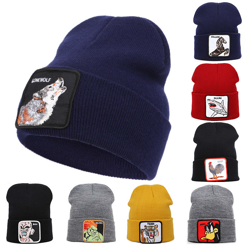 VEGETA Winter Beanies For Men Cartoon Characters Embroidery Winter Warm Knitted Hat Women Bonnet Unisex Wolf Hip Hop Hat