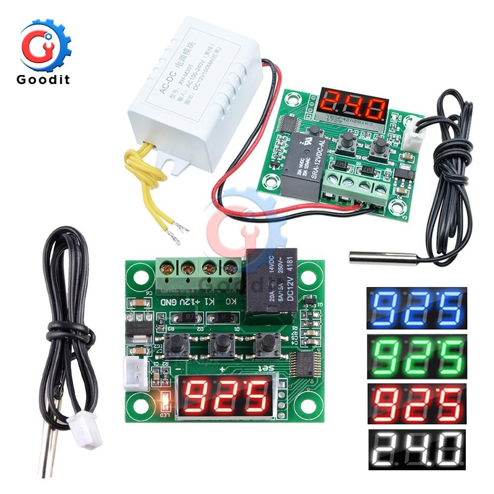 W1209WK W1209 dc 12v ac 110v 220vデジタルサーモスタット温度コントローラレギュレータ温度調節インキュベーターセンサー計ntc