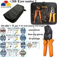 SN 28B alicate de friso 9 garras para guia 2.8 4.8 6.3/c3 xh2.54 3.96 2510/tubo/não isolado terminal dispositivo elétrico kit de ferramentas