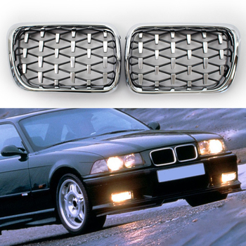 Left Right Chrome Diamond Kidney Grill for BMW E36 318is 325i M3 Coupe 1996-1999 Double Slat Sport Style Gloss Black image