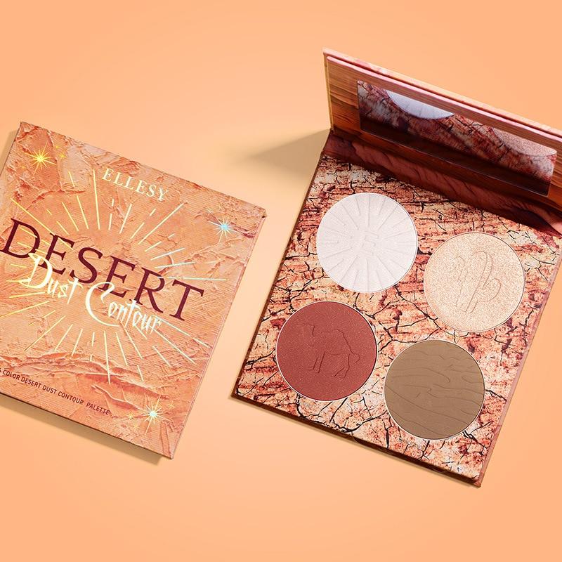 ellesy marca 4 cores highlighter paleta maquiagem rosto contorno em po bronzer shimme e matte profissional