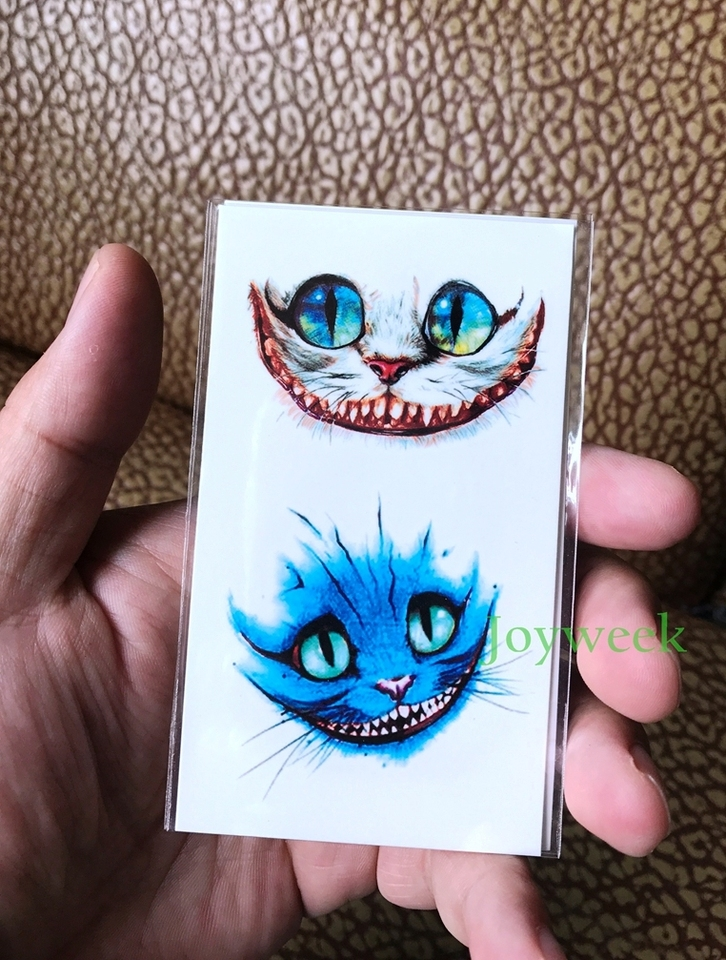Temporary Tattoo Sticker Alice In Wonderland Cheshire Cat Ink Painting Watercolor Flash Tatoo Fake Tatto For Men Women Tattoo For Men Waterproof Temporary Tattoosfake Tattoo Aliexpress