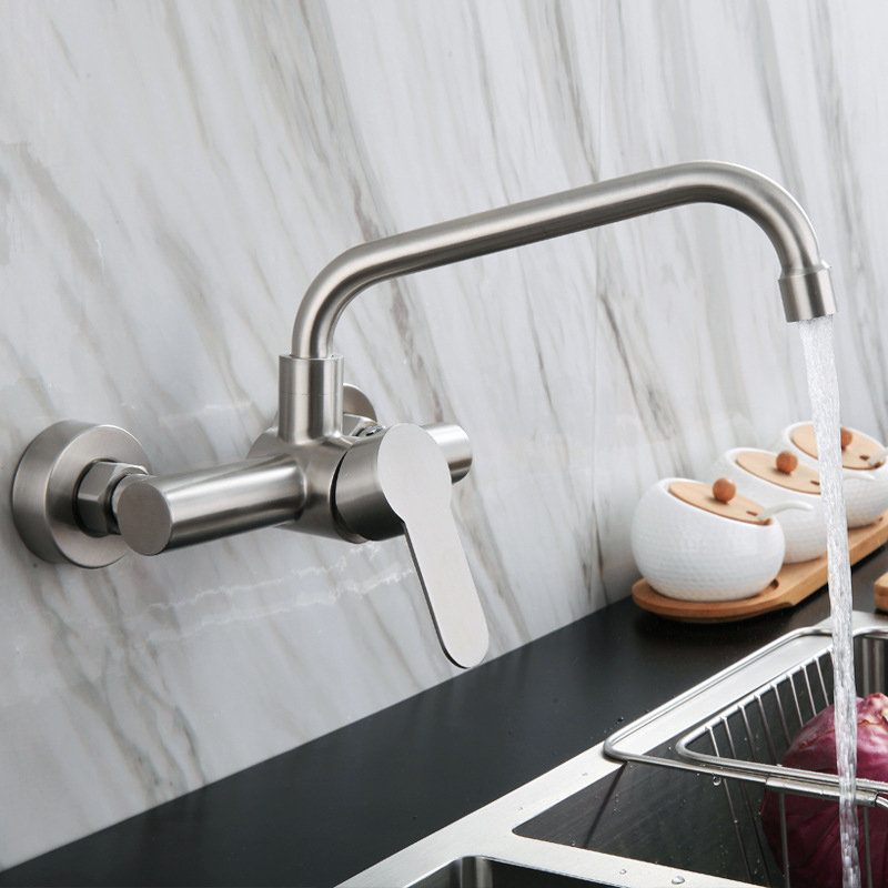 Kitchen Faucet Stainless Steel Bathroom Basin Sink Tap Wall Mounted 360 Degree Swivel Double Hole Hot Cold Water Mixer Tap Crane