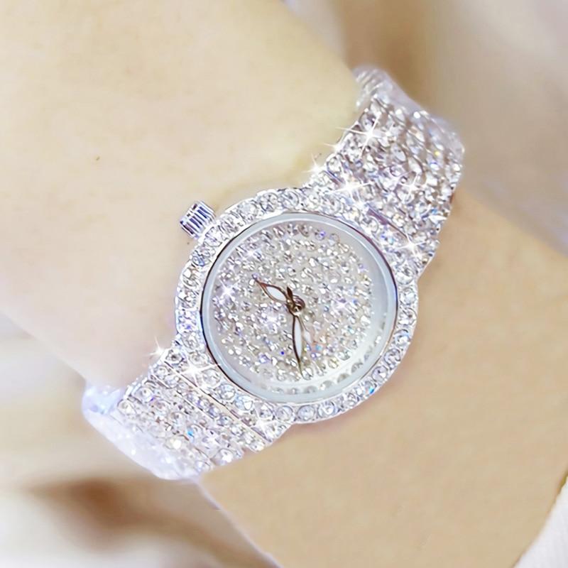 Bs Bee Sister Diamond Women Watches Luxury Brand Small Dial Female Rose Gold Watches Ladies Stainless Steel Lock Bayan Kol Saati 8
