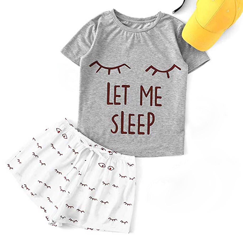 Letter Pajamas Set Women Cute Cat Pritning Short Sleeve T-shirt Shorts Sleepwear Nightwear Set Pyjama Femme Womens Pajamas Set