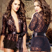Women Black Lace Sexy Pajamas With Belt Short Cardigan Sexy Lingeries For Ladies special offer black four pieces sexy lingeries suit for female