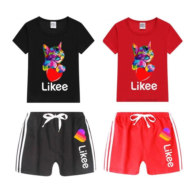 Boy And Girl  Likee Print Funny Cartoon T Shirt Kid's Shorts Set Children Tops+Pants Outfits Set Cat Clothing Sets,Drop Ship