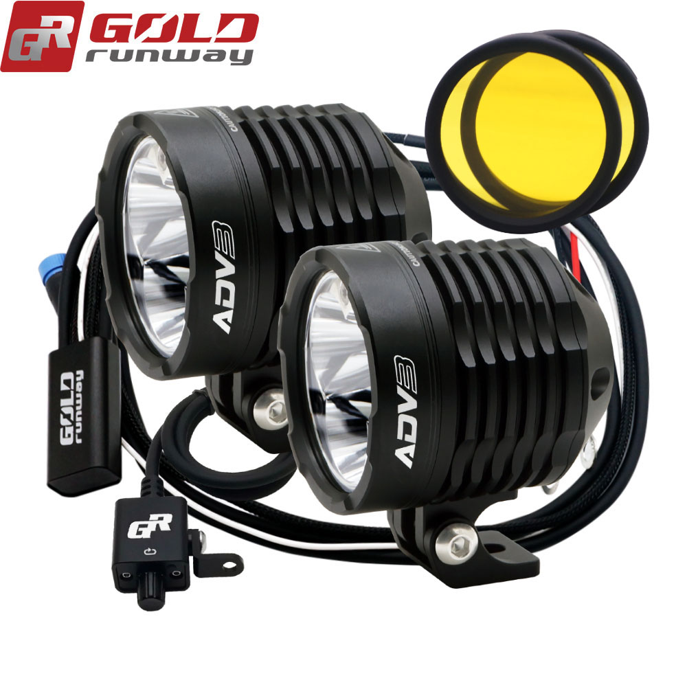 GOLD RUNWAY New ADV4 Motorcycle Headlights 32W 3800LM 6000K XPL V5 LED Chip Moto