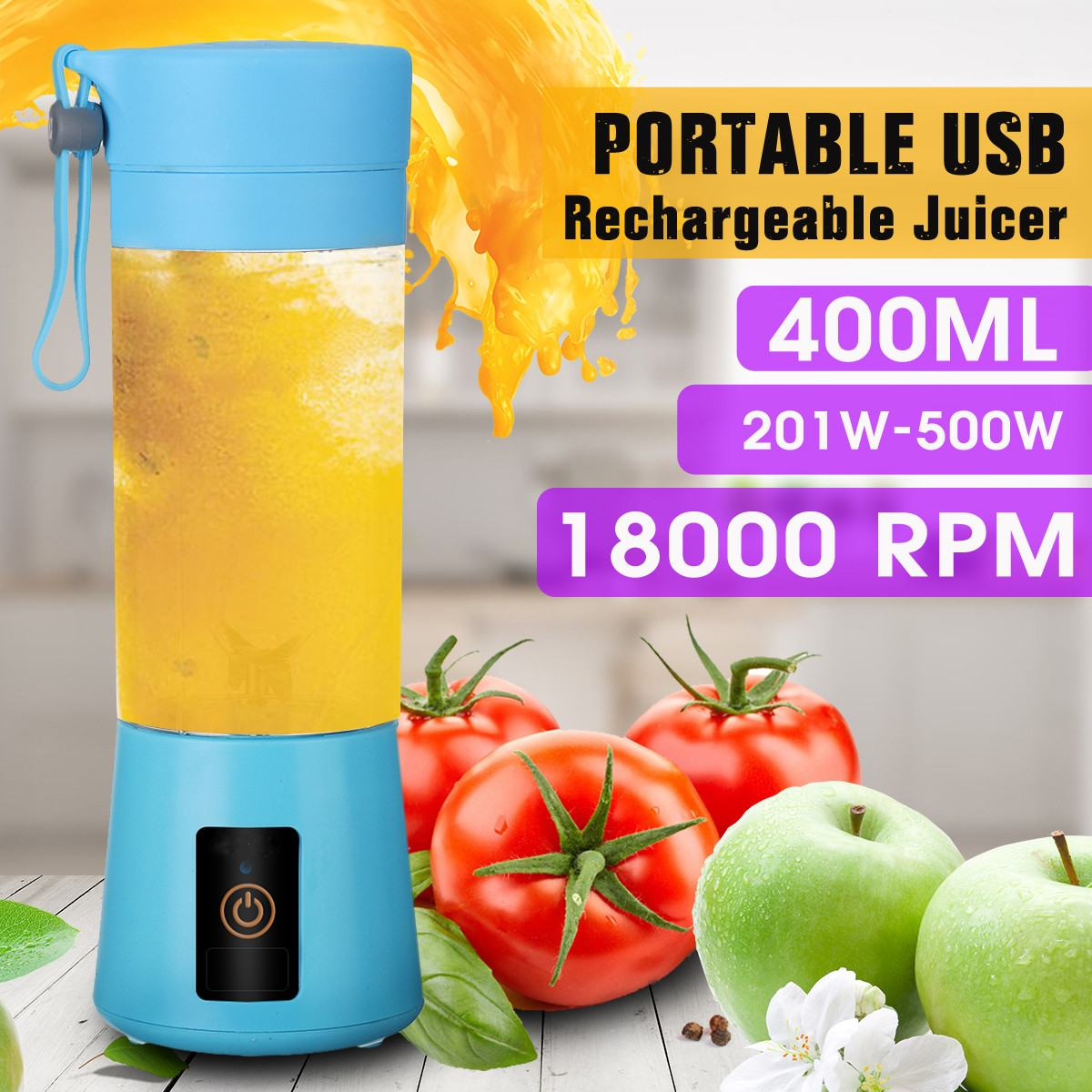 400ml Portable Juicer Electric USB Rechargeable Smoothie Machine Mixer Mini Juice Cup Maker Fast Food Processo
