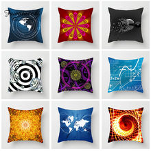 Fuwatacchi Geometric Cushion Cover Cosmic Exploration Pillow Cover For Home Room Car Sofa Decorative Black Pillowcase 2019(China)