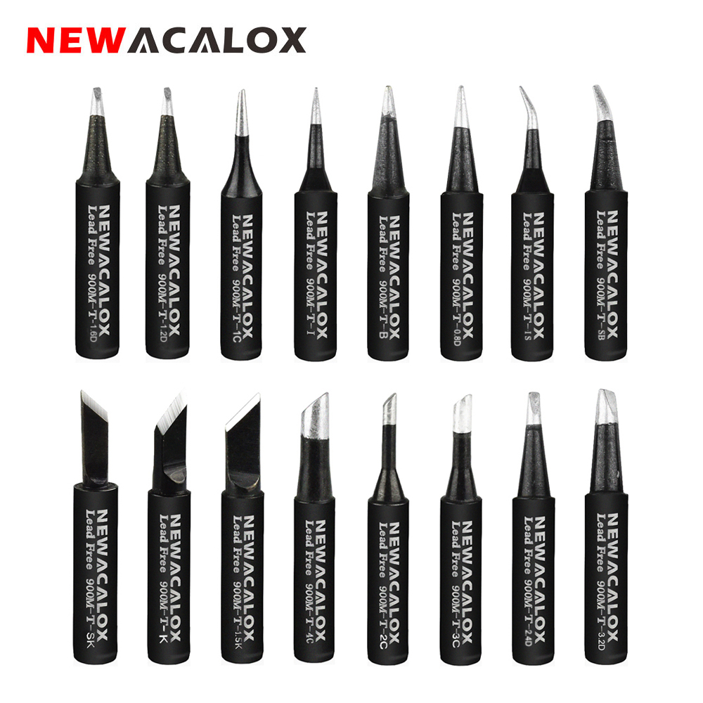 NEWACALOX 16pcs/lot Lead Free Black Metal Soldering Iron Tips 900-T For Hakko Rework Soldering Station Tool Kits