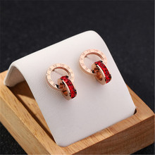 New Fashion Delicate Titanium Steel Rose Gold Double Round  Red Full Rhinestone  Drop Earrings For Women Party Jewelry delicate titanium steel rhinestone ring jewelry for men
