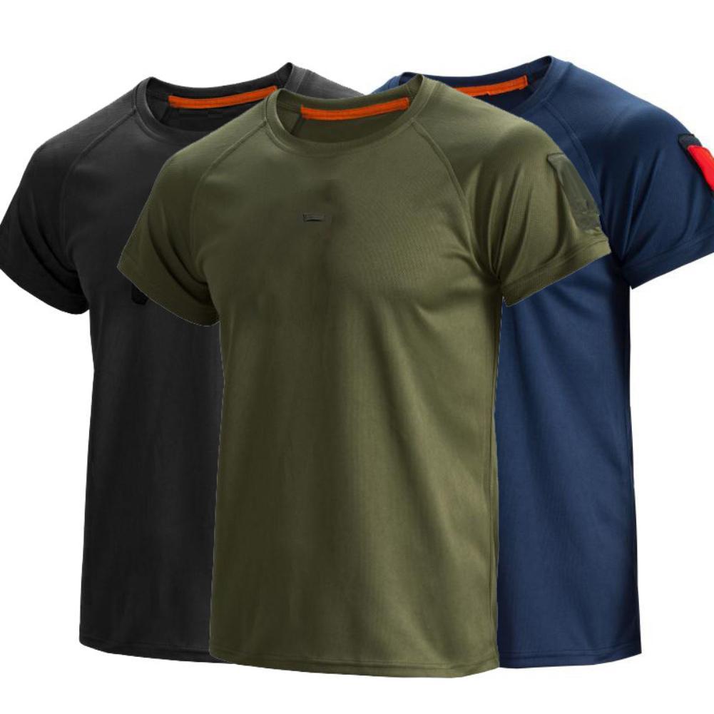 Мужская быстросохнущая футболка, однотонная воздухопроницаемая футболка с короткими рукавами и круглым вырезом, лето 2021