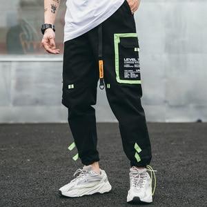 Image 3 - Hip Hip Cargo Pants Streetwear Men Harajuku Harem Pants Joggers 2019 Casual Tatical Pants Ribbon Multi Pockets Track Trousers