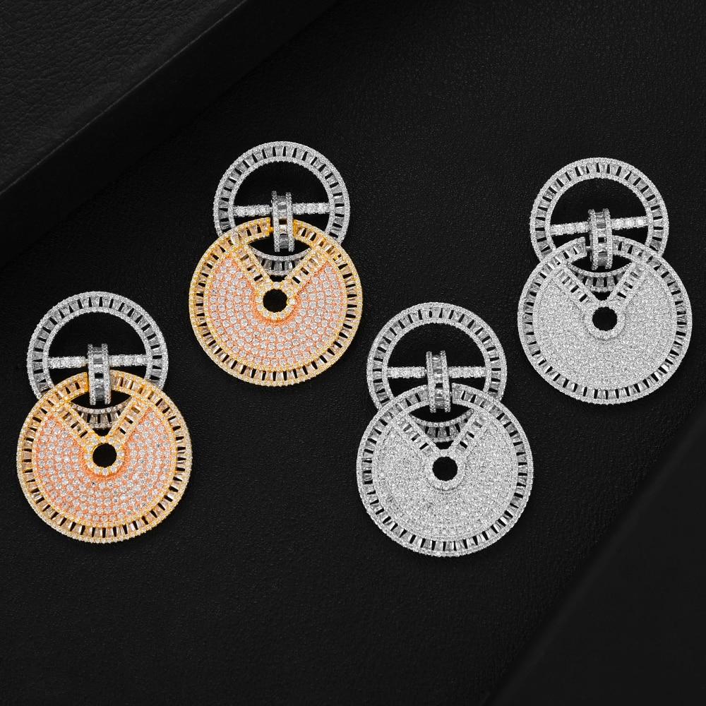 Missvikki nouvelle amérique DUBAI Style rond pendentif boucles d'oreilles pour les femmes mariée mariage AAA cubique zircone brillant Fine bijoux quotidiens