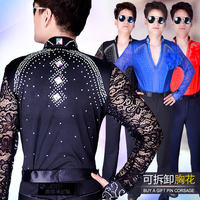 New Latin Dance Tops For Men Rhinestone Shirt Standard Ballroom Shirt Professional Male Latin Dance Competition Clothes BL18