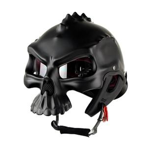 Image 1 - NEW Open Face Helmet Skull Motorcycle Helmet Retro Motorbike Half Face racing Helmet Moto Helmets