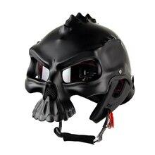 ใหม่เปิด Skull รถจักรยานยนต์ Retro รถจักรยานยนต์ครึ่งหน้าหมวกกันน็อก Moto หมวกกันน็อก