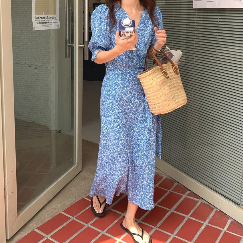 H543ba29d543a486abde893ec1cf3a3d8K - Summer V-Neck Short Sleeves Lace-Up Floral Print Midi Dress