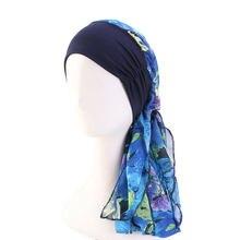 イスラム教徒hijabsリボン女性ストレッチヘッドスカーフ固体ヒジャーブプリント化学及血キャップがん脱毛ターバンファッション帽子
