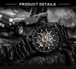 Image 4 - זוכה הרשמי בציר Mens שעונים למעלה מותג יוקרה אוטומטי מכאני שעון גברים נחושת פלדת רצועת שלד שעוני יד צבא