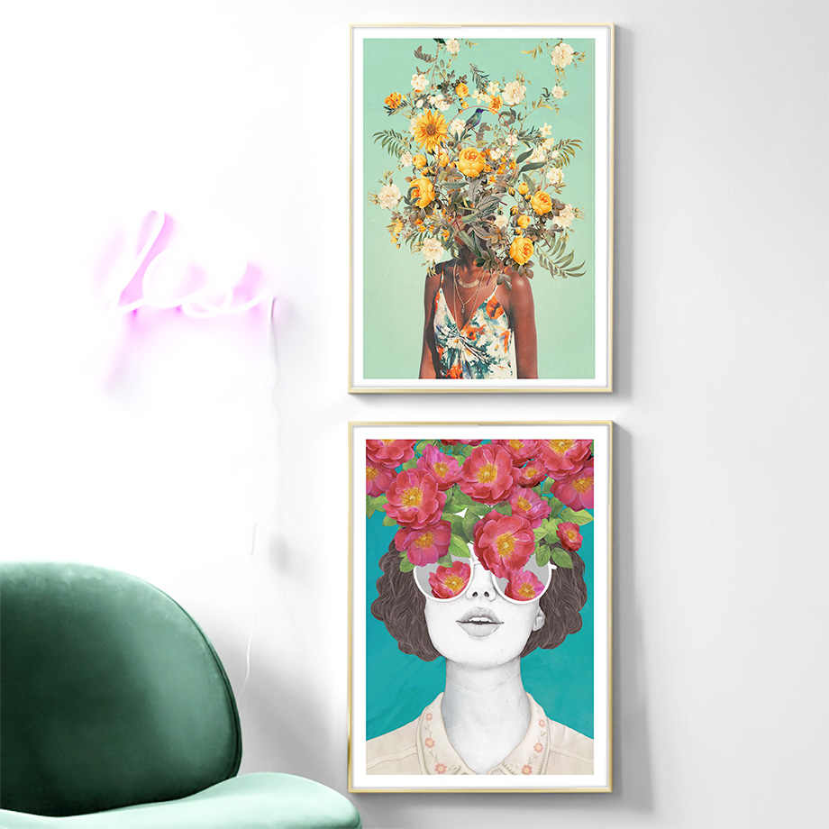 KF/_ Watercolor Woman Canvas Wall Art Painting Poster Unframed Home Decor Welco