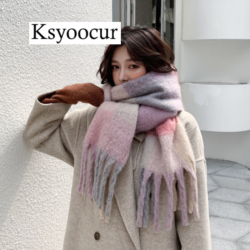 Size 250*40CM, 2020 New Autumn/Winter Long Section Cashmere Fashion Scarf Women Warm Shawls And Scarves Brand Ksyoocur E12