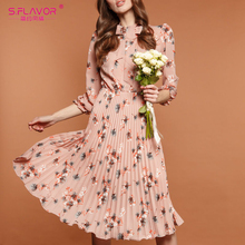 S.FLAVOR Pink Flower Print A line Dress Autumn Elegant New Fashion Party Vestidos Winter Casual Pleated Midi Dress For Female