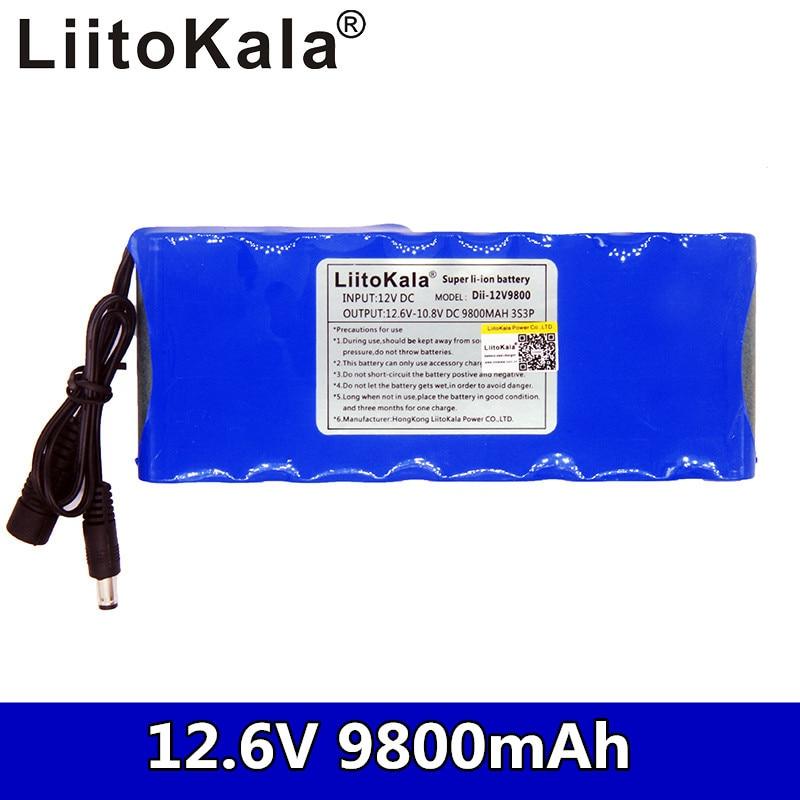 Tüketici Elektroniği'ten Pil Paetleri'de Liitokala 12V 9800mAh şarj edilebilir lityum pil 3S3P DC kondansatör CCTV kamera monitörü title=
