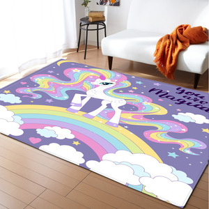 Cartoon Rainbow Unicorn Carpet Kids Room Area Rugs Soft Girls Bedroom Rugs Baby Play Crawling Mat Living Room Carpet Home Mat