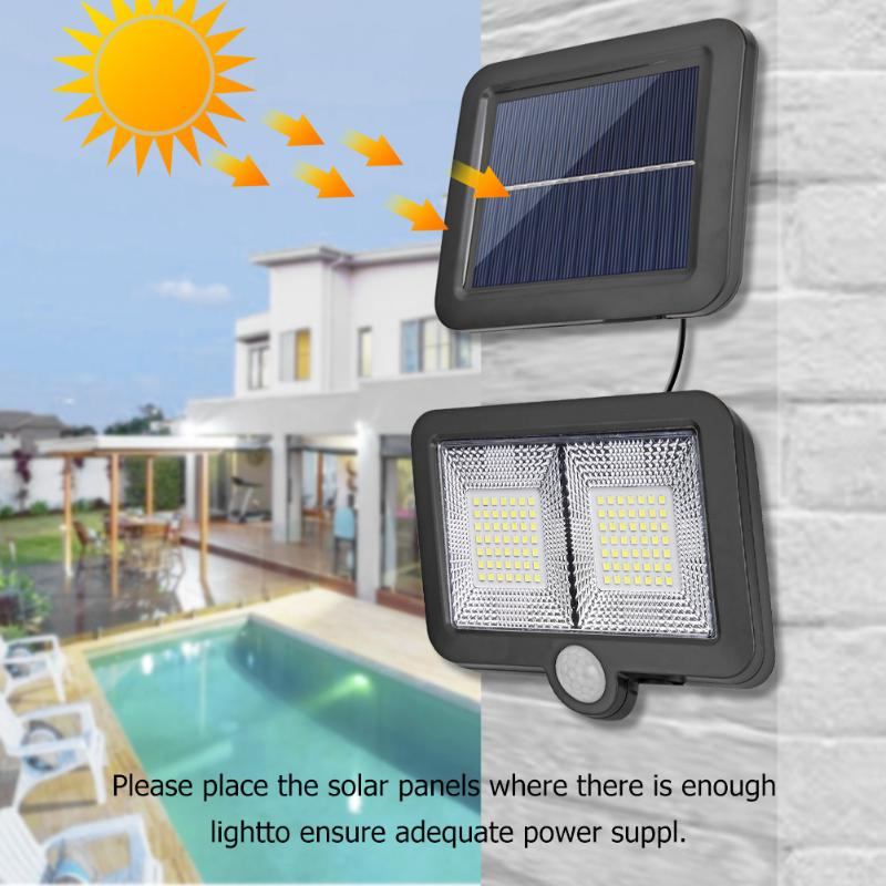 98LED Outdoor Solar Wall Lamp Waterproof PIR Motion Sensor Garden Light Solar Powered Spotlight Sunlight Street Light