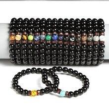 Natuurlijke Zwarte Onyx Met Natuursteen Armbanden Mannen Obsidiaan Kralen Sieraden 12 Constellation Leo Liefhebbers Energiebalans Armband
