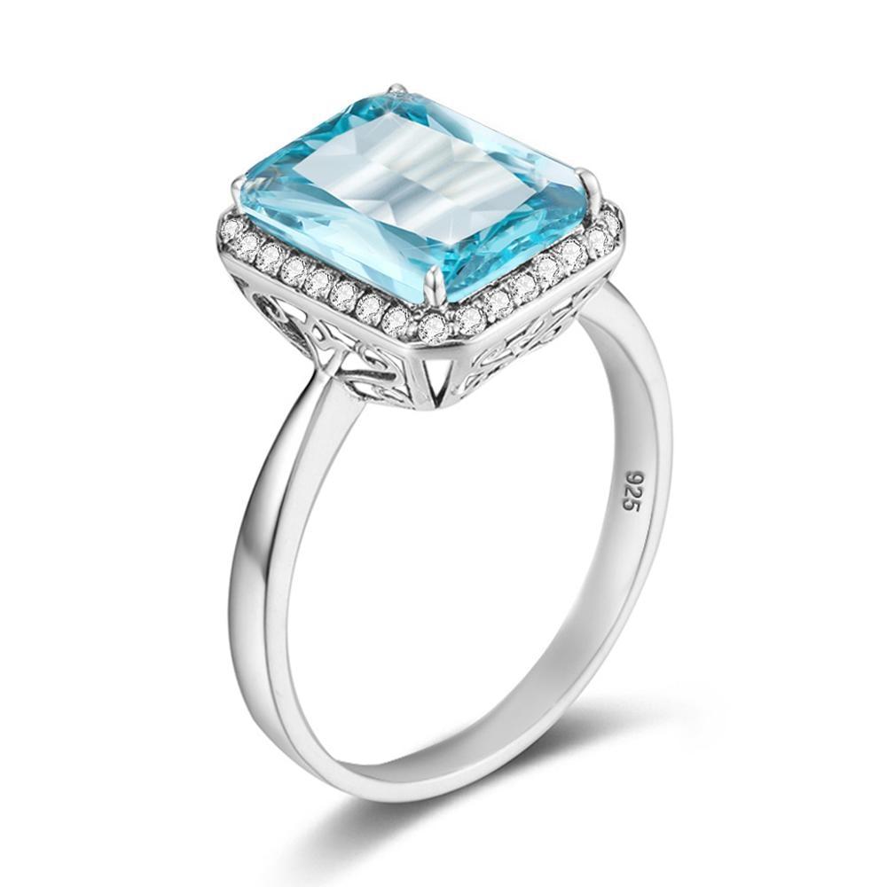 Szjinao Sky Blue Aquamarine Ring For Women With Diamond Vintage Bague Femme Argent 925 Square Gemstone Shape Fine jewellery Best(China)