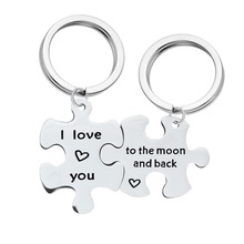 Stainless steel key chain I love you to the moon and back puzzle pendant couple necklace (2ps) недорого